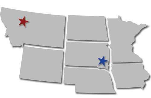 map of Montana, North Dakota, South Dakota, Minnesota, Wyoming, Nebraska, and Iowa